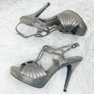Adrianna Papell Silver Platform Rhinestone Heels